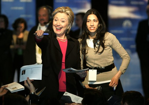 Hillary and her Muslim advisor, Huma Abedin.