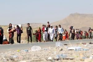 Yazidis fleeing from Islamic State terrorists.