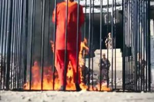 Jordanian pilot is burned to death in a cage by Islamic State terrorists.