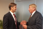 Nebraska Senate candidate Ben Sasse and GING-PAC chairman William J. Murray discuss the November, 2014 general election during a meeting in Washington, DC
