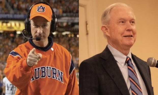 Tuberville left while a coach, and Jeff Sessions right